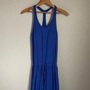 Athleta Blue Maxi Dress Drawstring Waist Sz XS
